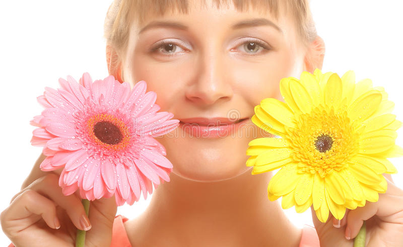 Download Beautiful Young Woman With Gerber Flower Stock Photo - Image of natural, beautiful: 39509324