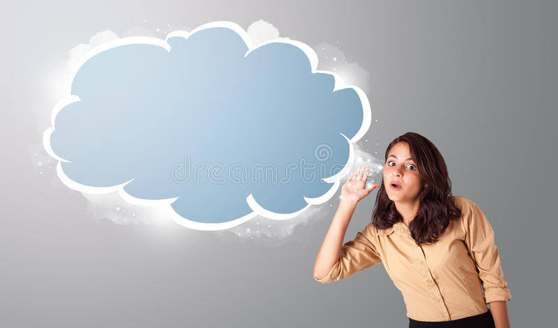 Download Beautiful Woman Gesturing With Abstract Cloud Copy Space Stock Image - Image: 30224275