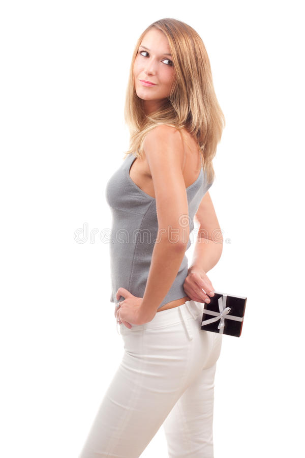 Download Beautiful Young Woman With A Gift Box Stock Photo - Image of happy, hiding: 10789250