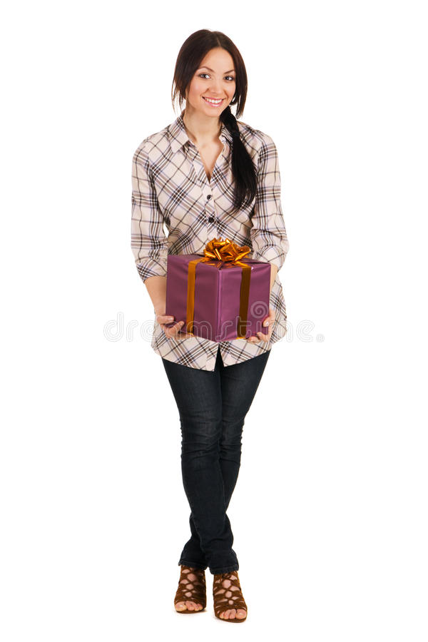 Download Beautiful Young Woman With A Gift Box Stock Photo - Image: 14461050