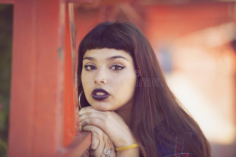 Beautiful young woman. Beautiful gothic young woman portrait royalty free stock photos