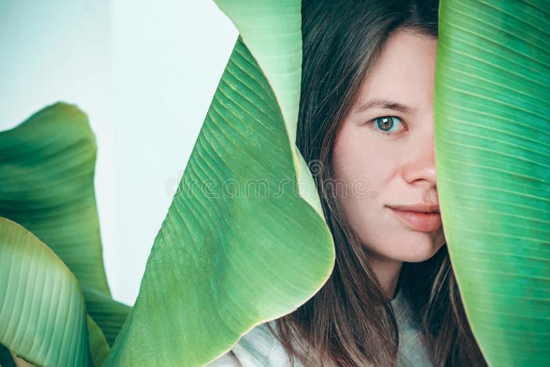 Beautiful womant plant portrait. stock photo