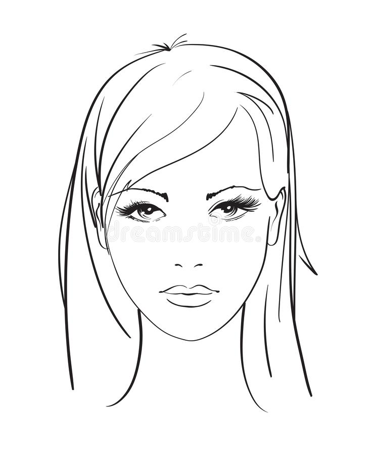 Beautiful young woman with hairstyle and expressive look. Fashion sketch. Fashion girls face. Hand-drawn fashion model. Woman face stock illustration