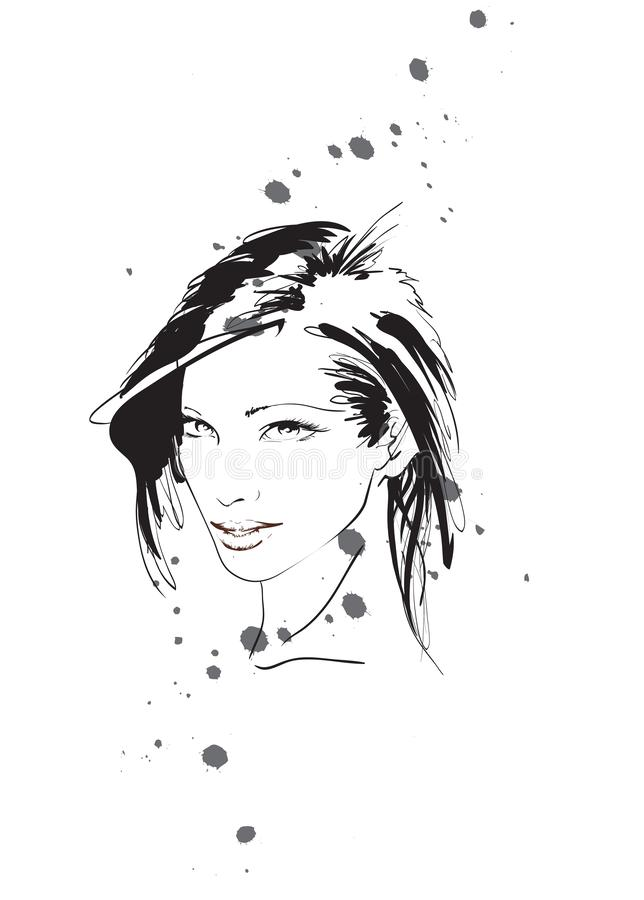 Beautiful young woman with hairstyle and expressive look. Fashion sketch. Fashion girls face. Hand-drawn fashion model. Woman face royalty free illustration