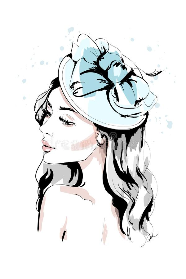 Beautiful young woman in hat. Hand drawn fashion woman portrait. Fashion model face. stock illustration
