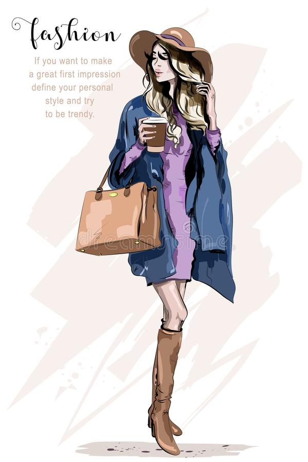Beautiful young woman in hat. Stylish woman in fashion clothes. Fashion lady. Autumn outfit. Hand drawn girl holding coffee cup. Sketch royalty free illustration