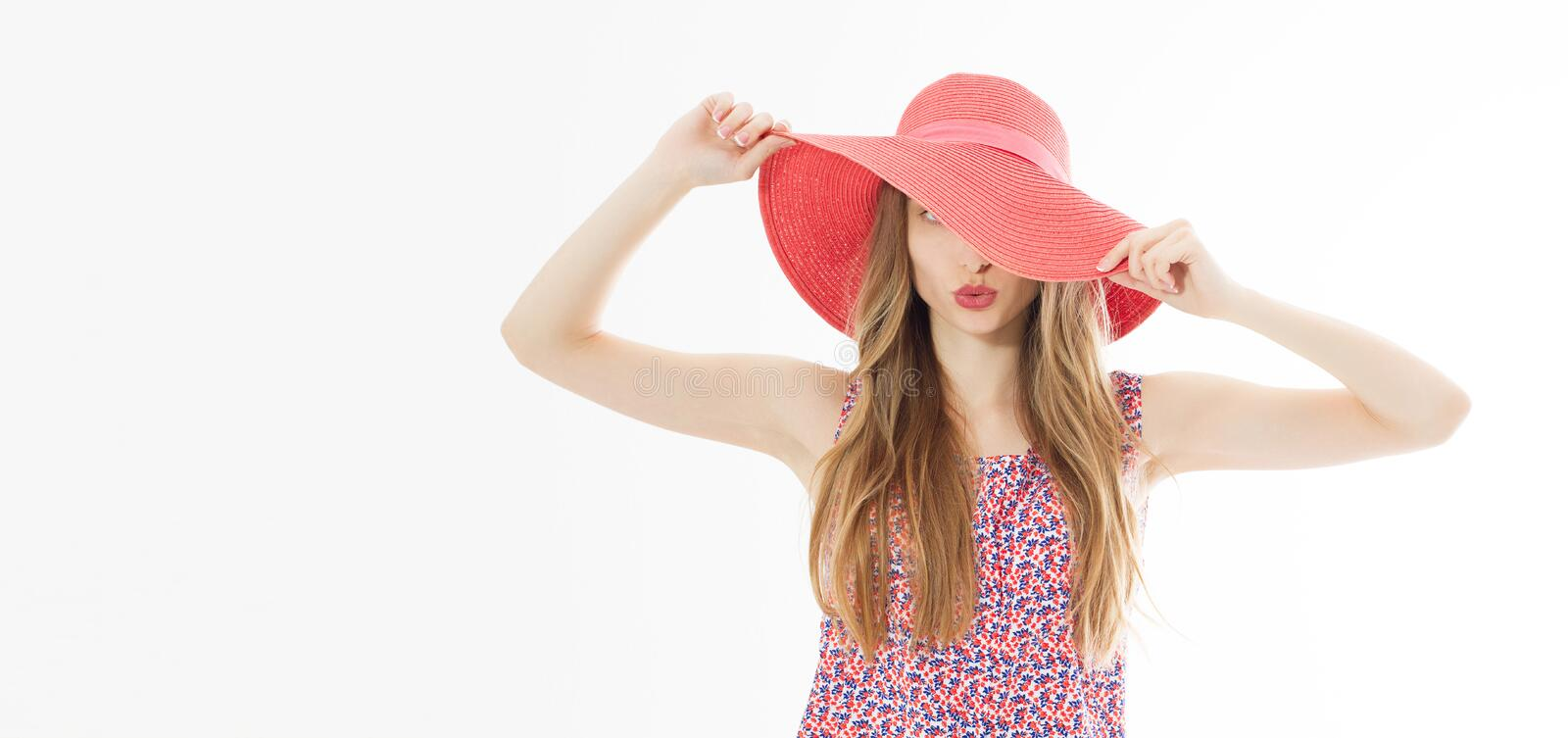 Beautiful young woman in hat - summer fashion beauty blonde girl stock photos