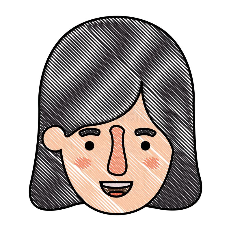 Beautiful and young woman head stock illustration
