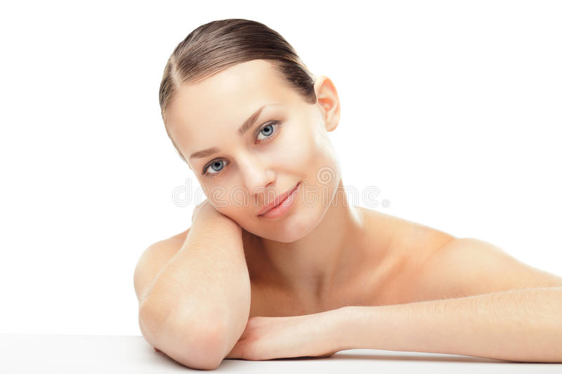 Beautiful young woman with healthy clean skin stock image