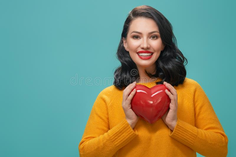 Girl on Valentine`s Day stock photo