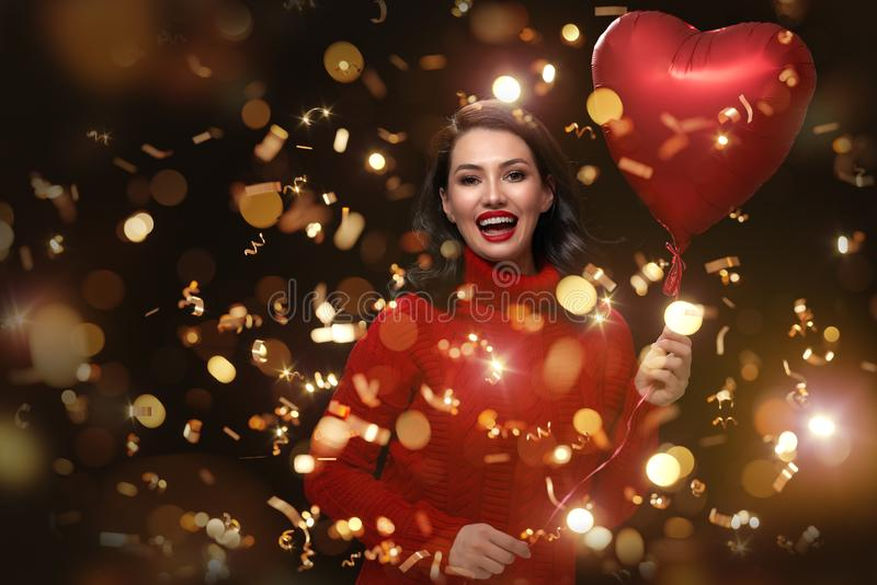 Girl on Valentine`s Day royalty free stock image