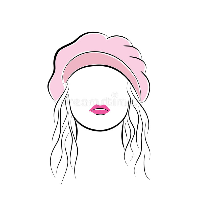 Beautiful young woman with her hair in a pink beret. Vector fashion sketch in hand drawing style for your design. EPS10. Close up portrait. Beautiful young woman stock illustration