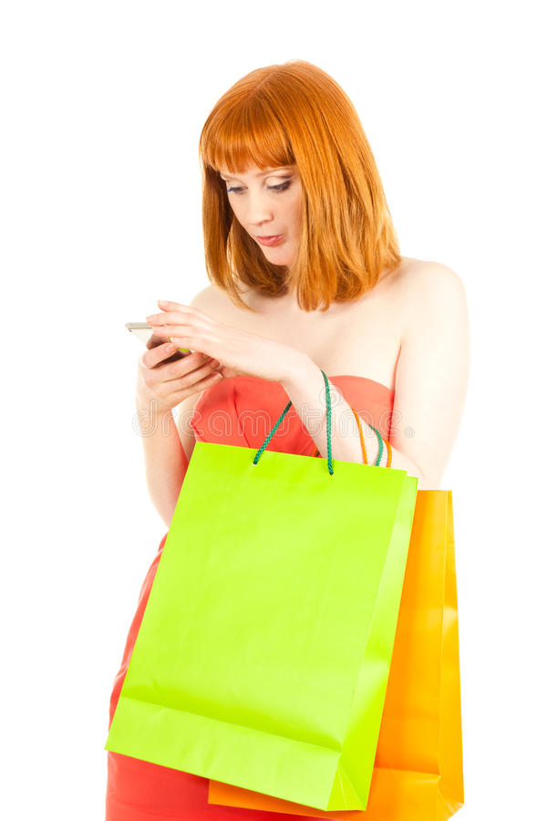 Download Beautiful Young Woman With Her Shopping Bags Stock Photo - Image of contemporary, beauty: 23528508