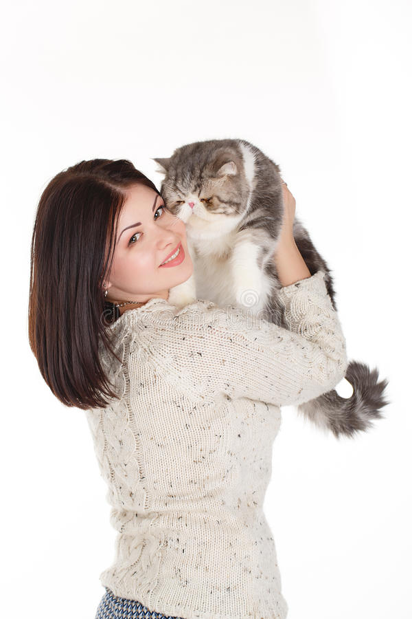 Download Beautiful Young Woman Holding A Cat, Isolated Against White Background Stock Image - Image: 37705647
