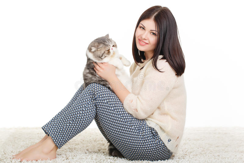 Download Beautiful Young Woman Holding A Cat, Isolated Against White Background Stock Image - Image: 37705689
