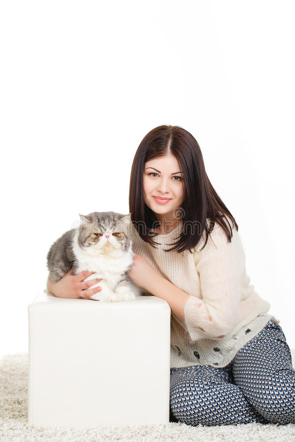 Download Beautiful Young Woman Holding A Cat, Isolated Against White Background Stock Image - Image: 37705739