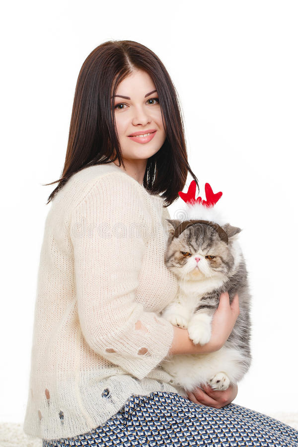 Download Beautiful Young Woman Holding A Cat, Isolated Against White Background Stock Photo - Image: 37705764