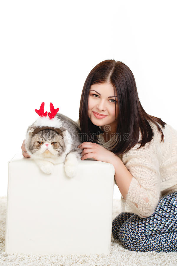 Download Beautiful Young Woman Holding A Cat, Isolated Against White Background Stock Image - Image: 37705765