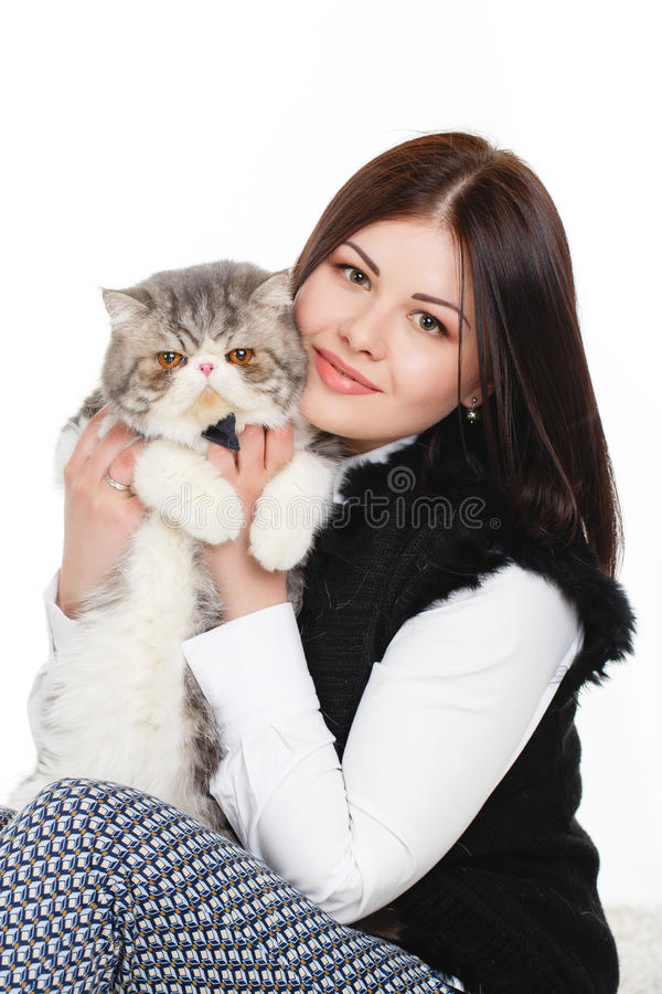 Download Beautiful Young Woman Holding A Cat, Isolated Against White Background Stock Image - Image of felt, grey: 37705797