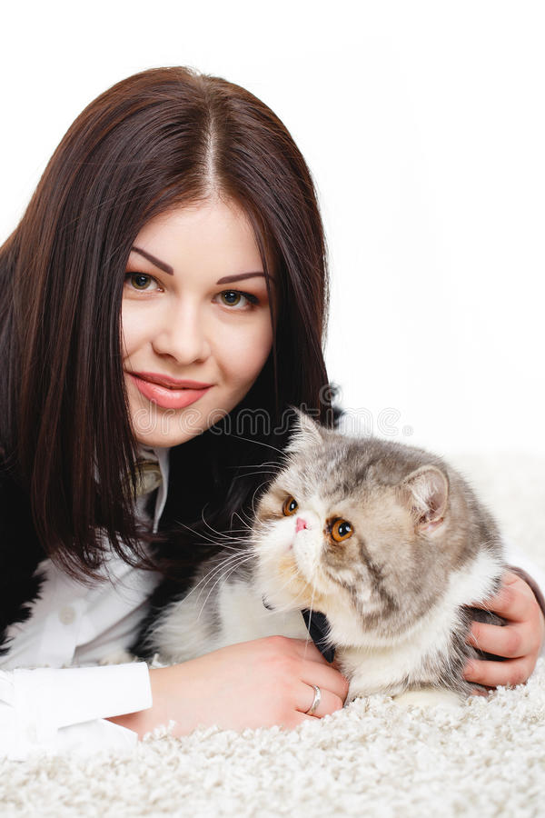 Download Beautiful Young Woman Holding A Cat, Isolated Against White Background Royalty Free Stock Image - Image: 37705806
