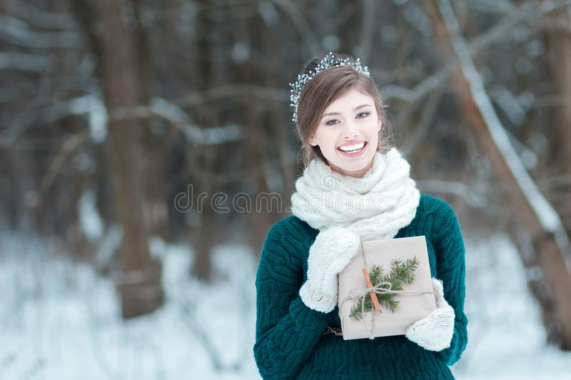 Beautiful young woman holding Christmas gift. In hands stock image