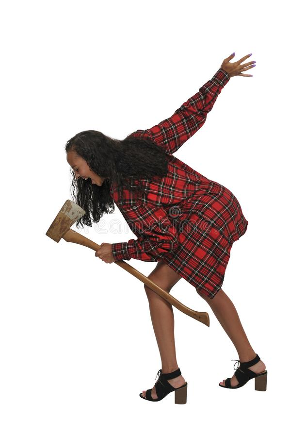 Woman with an axe stock image