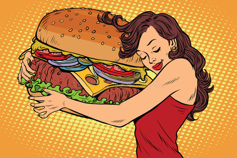 Beautiful young woman hugging Burger. Pop art retro vector vintage illustration. Fast food restaurant, diet and hunger stock illustration