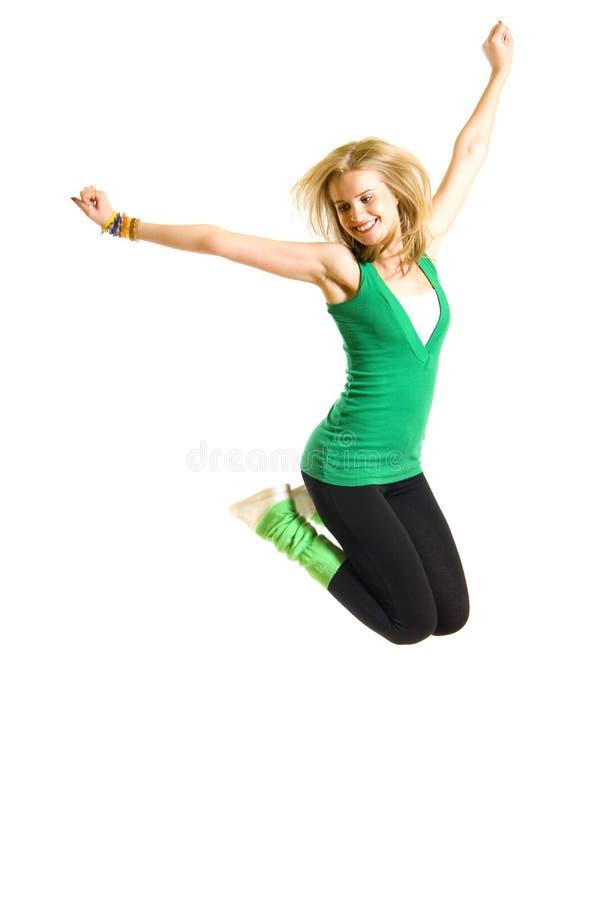 Beautiful Young Woman Jumping Stock Photography