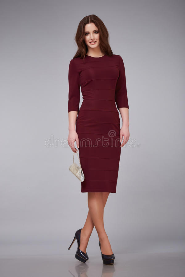 Free Beautiful Young Woman Lady Stylish Elegant Fashionable Dress, Makeup And Hair Style For The Evening Business Meeting Walk Dat Royalty Free Stock Photography - 67989647