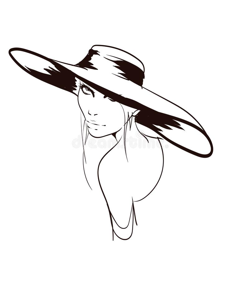 Beautiful young woman with large luxury hat. Fashion sketch. Fashion girls face. Hand-drawn fashion model. Woman face royalty free illustration