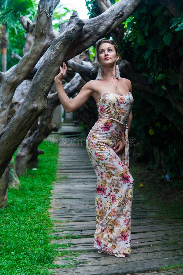Beautiful young woman is leaning against a tree in the rain forest wearing sexy dress stock photos