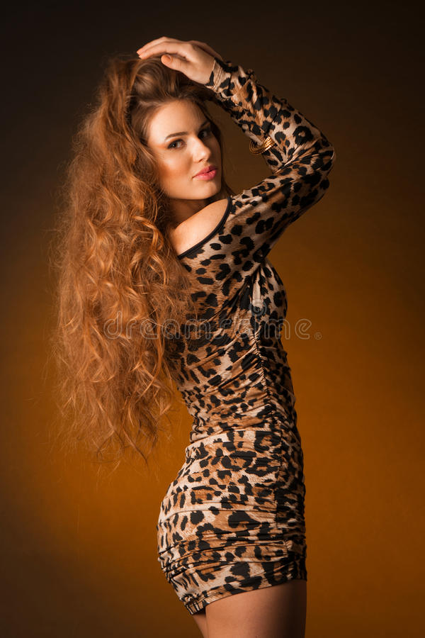 Beautiful young woman in leopard dress royalty free stock photo