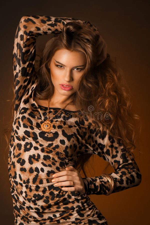 Beautiful young woman in leopard dress royalty free stock images