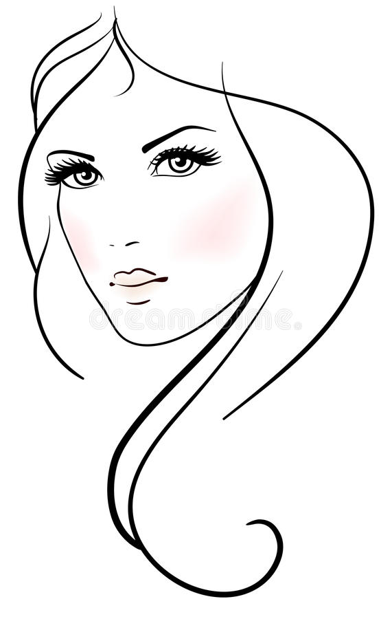 Beautiful young woman. With long blond hair vector illustration