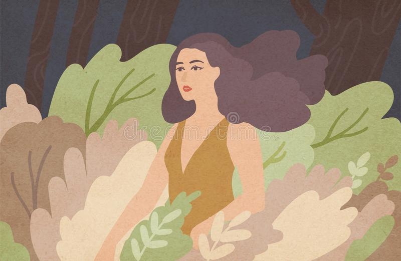 Beautiful young woman with long brunette hair waving in wind standing among green bushes. Wild girl in dense thicket of vector illustration
