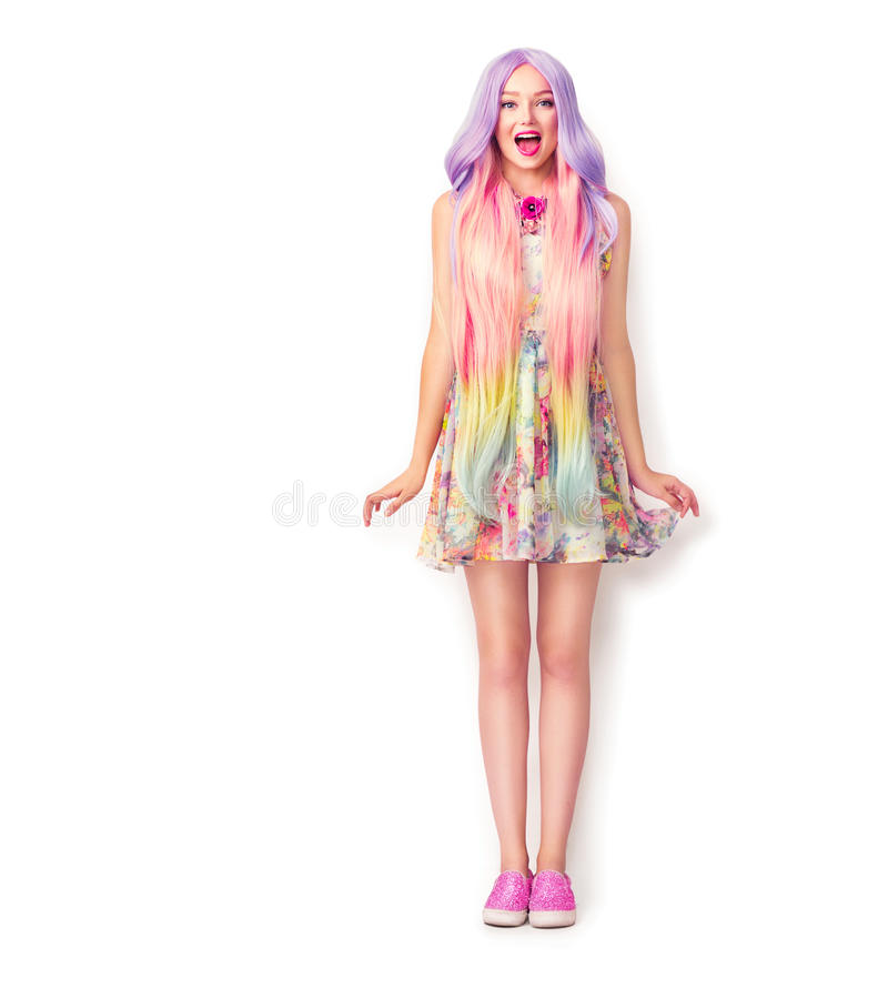 Beautiful young woman with a long colorful hair stock images