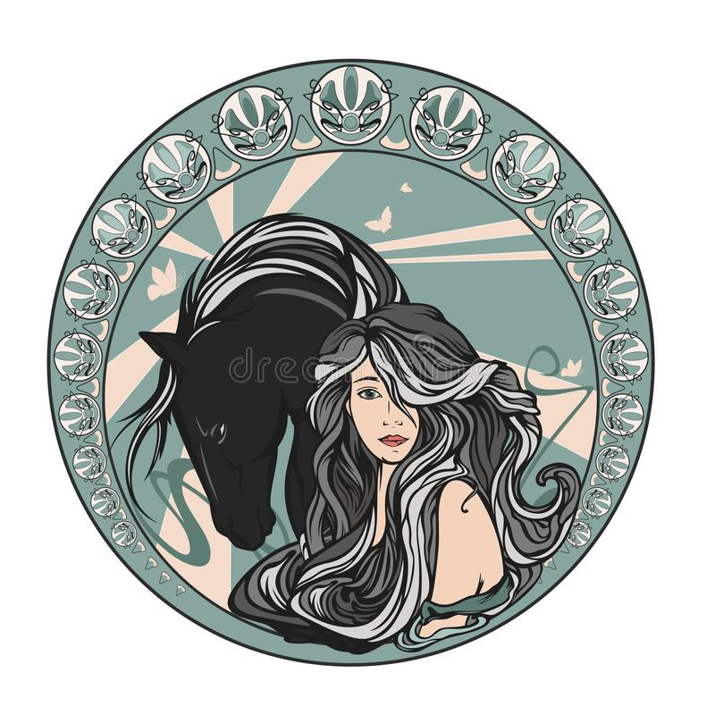 Beautiful woman with long hair and horse art nouveau vector design vector illustration