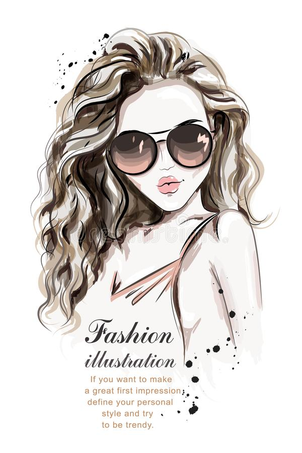 Beautiful young woman with long hair. Stylish hand drawn girl in sunglasses. royalty free illustration