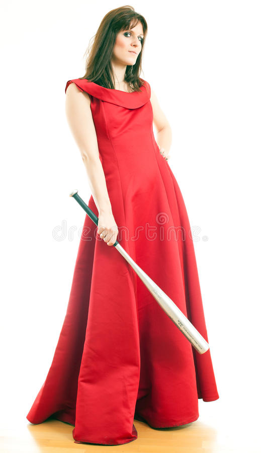 A Woman With A Baseball Bat Royalty Free Stock Photo