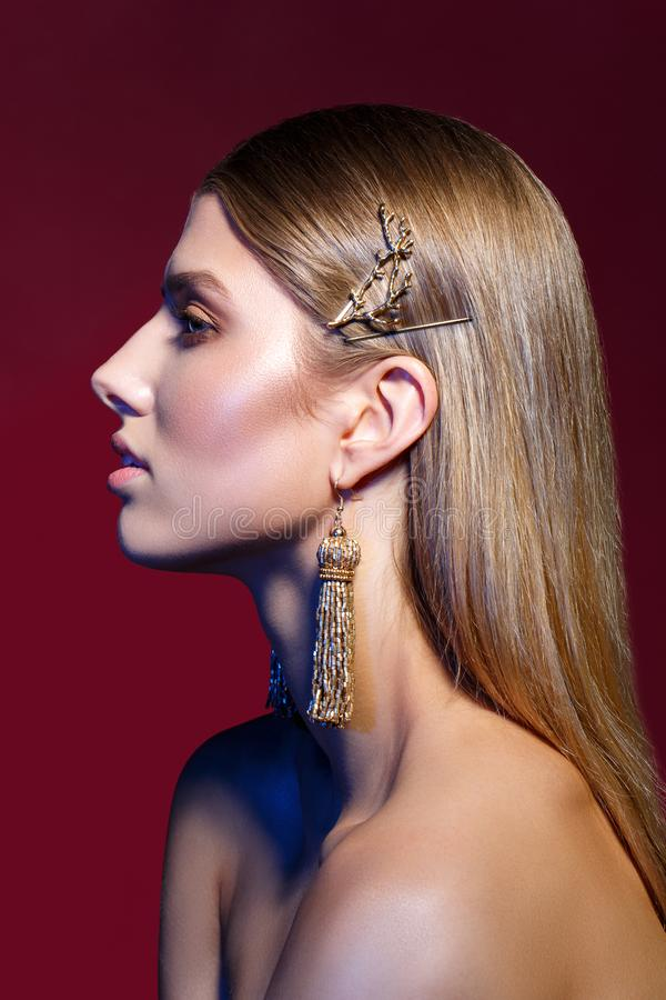 Beautiful girl with long earrings royalty free stock images