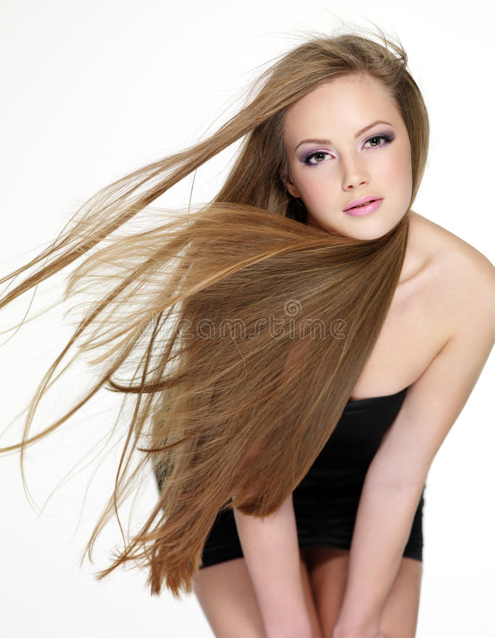 Download Beautiful Young Woman With  Long Straight Hair Stock Photo - Image of modern, female: 17731760