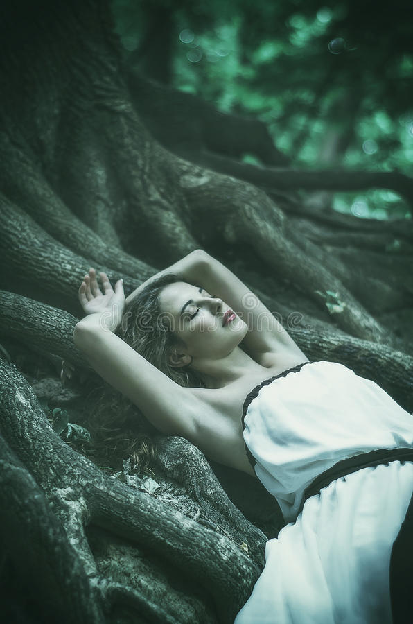 beautiful young woman in a long white dress with long wavy hair, lying on the large roots of a tree with his eyes closed Fairy ta royalty free stock photos
