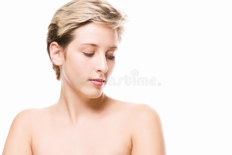 Beautiful young woman looking at her shoulder royalty free stock photos