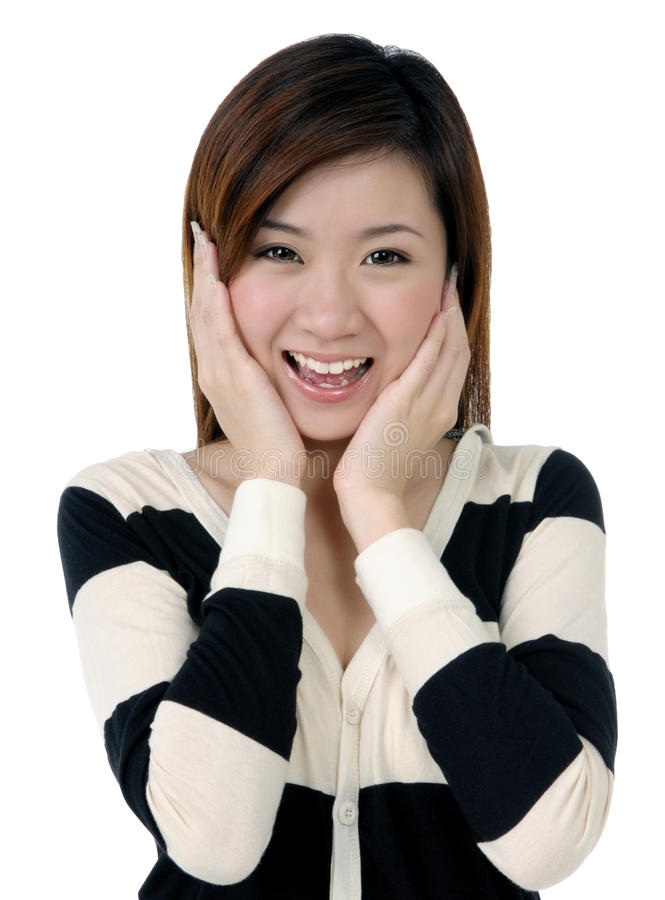 Download Beautiful Young Woman Looking Surprised Stock Photo - Image of indoors, lifestyle: 14103954