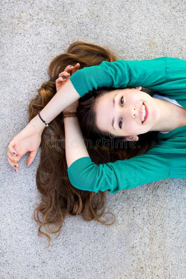 Download Beautiful Young Woman Lying Down Stock Image - Image: 21262621