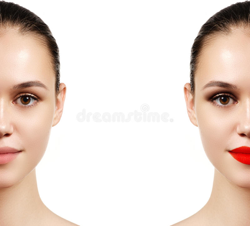 Beautiful young woman before and after make-up applying. Comparison portrait. Two parts of model face with and without makeup. stock image