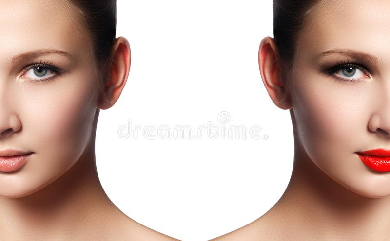 Beautiful young woman before and after make-up applying. Compari stock images
