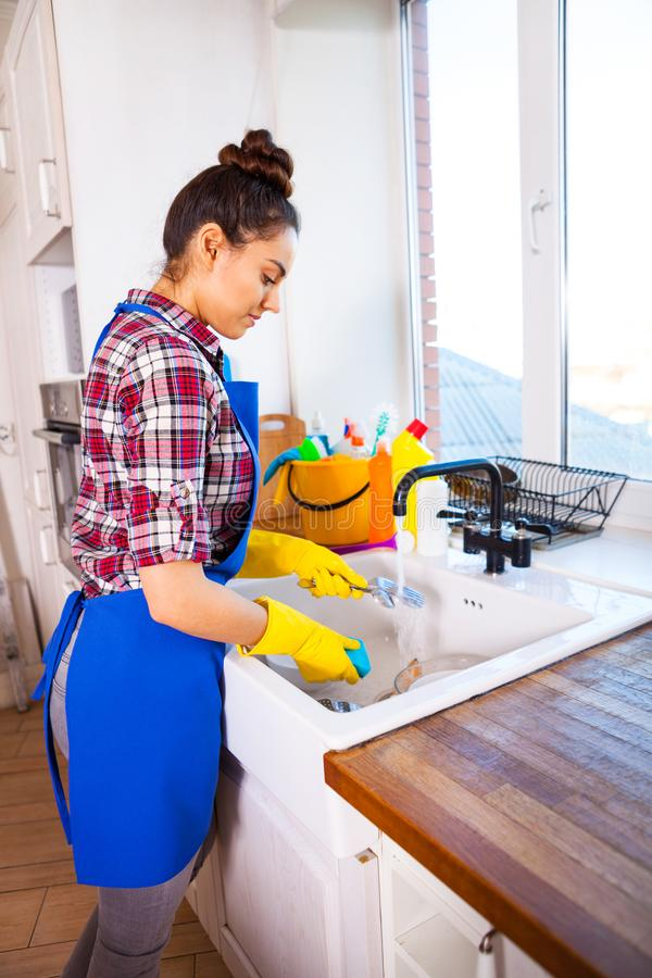 Beautiful young woman makes cleaning the house. Girl cleaning kitchen. Set. Beautiful young woman makes cleaning the house. Girl washes the dishes. Set stock image
