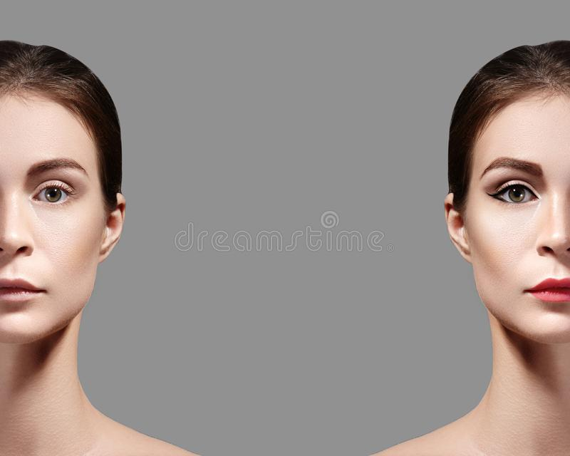 Beautiful Young Woman Before and After Makeup. Comparison Portrait of Two Parts of Face. Girl with and without Make-up royalty free stock photos