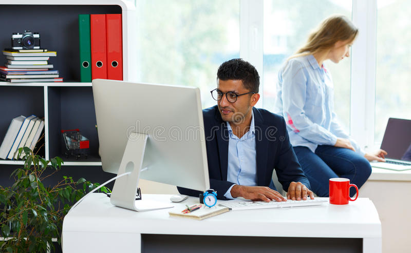 Beautiful Young Woman And Man Working From Home Office Stock Image ...